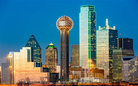 Dallas Reunion Tower Skyline At Night City In Texas United